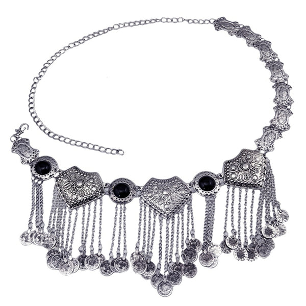 Mamir's Express - Gypsy Vintage Silver Acrylic Beads Coin Tassel Pendant Belly Waist Chain
