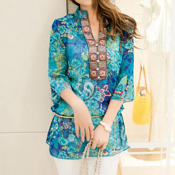 Women Shirt Blouse Chiffon Floral Casual Top Embroidery