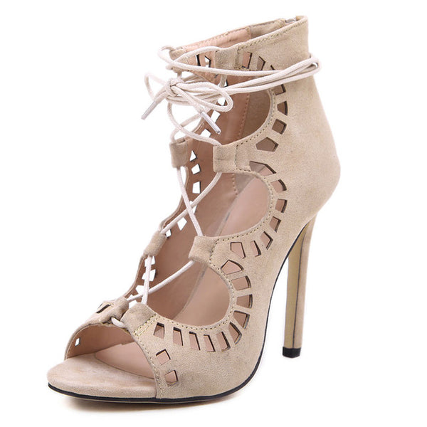 Mamir's Express - Lace up High Heels Cut Outs Open Toe Sandals