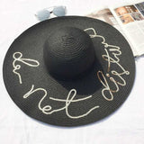 Mamir's Express - Do Not Disturb Letter Wide Brim Summer Sun Hats for Women Beach Straw Hat