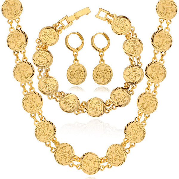 Dubai Gold Jewelry Sets Necklace Bracelet Earrings For Women