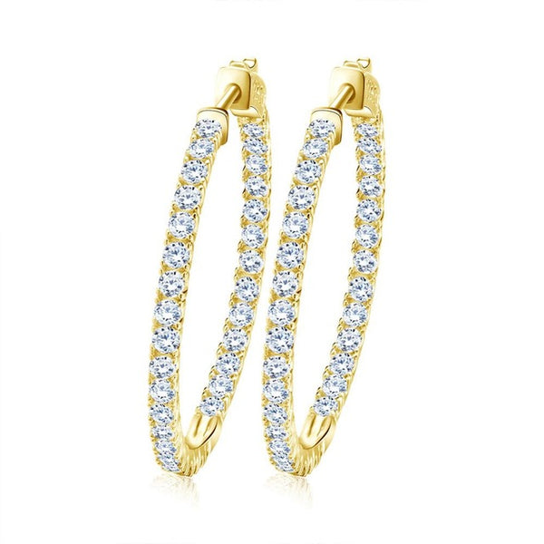 Mamir's Express - Hoop Earrings Paved with AAA Austrian Cubic Zirconia