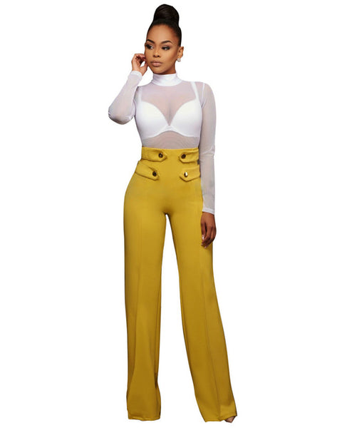 Wide Leg Women Elastic Button Palazzo High Waist Trousers