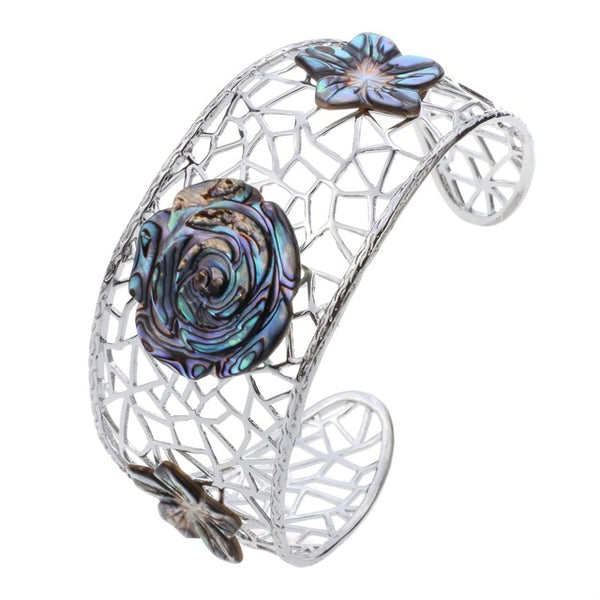 Shell Flower Filigree Bangle Bracelet Flexible Jewelry