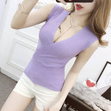 Sexy Sleeveless V-Neck Women  Knitted Tank Top