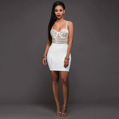 d7dab899be4 Sexy 2 Piece Set Skirt And Crop Top Suit Sequin Rivets Diamond