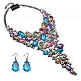 Mamir's Express - Crystal Acrylic Resin Choker Statement Pendant Bib Necklace