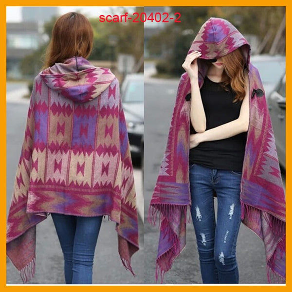 Mamir's Express - Fringe Ethnic Geometric Cardigan Sweater winter Hooded Outwear Wool Blend Ethnic style print Blanket Cloak Women's Poncho Cape