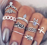 Mamir's Express - Flower Midi Ring Set for Women Boho Beach Vintage Turkish Punk Elephant Knuckle Rings