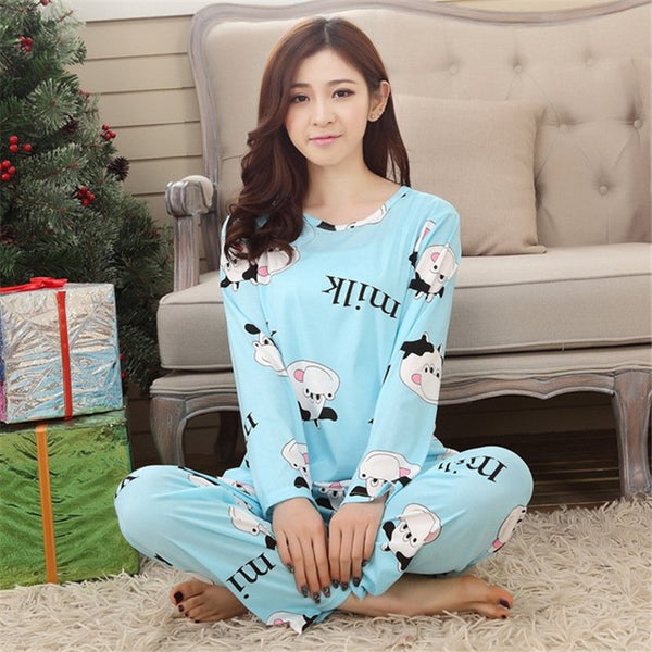 Women Sleepwear Cartoon Pajamas Set