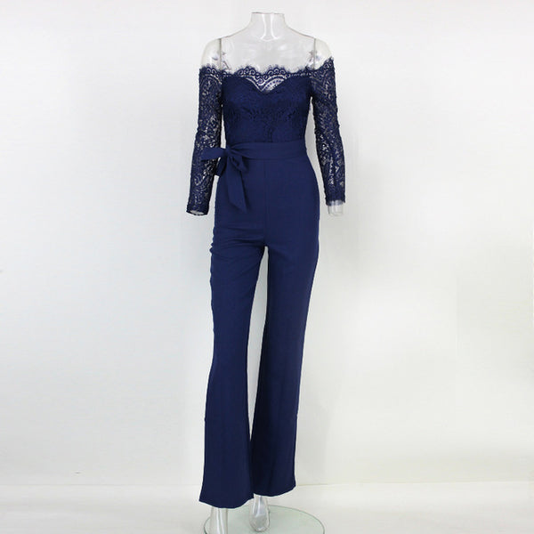 Mamir s Express - Elegant Off The Shoulder Lace Women Long Sleeve Fitted  Sexy Jumpsuit Romper 16972a750