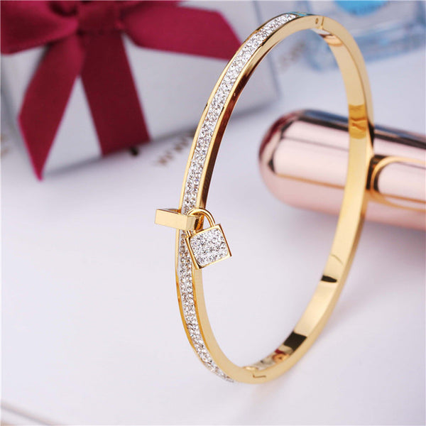 Stainless Steel Bangles Bracelet For Women Padlock  Key Charm Jewelry