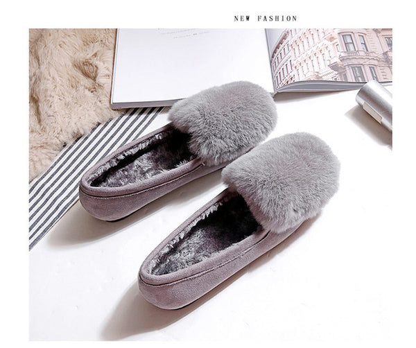 Mamir's Express - Flock Rabbit Fur  Casual Loafers Round Toe Comfortable Short Plush