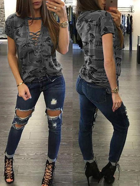 Mamir's Express - Ladies Short Sleeve Camouflage Loose Blouse Lace Up Shirts Tops