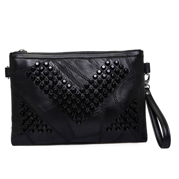 Mamir's Express - Black Envelope Clutch Purses for Women Leather Handbags