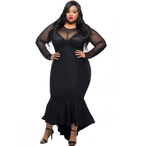 Mamir's Express - Mermaid Evening Long Party Dress Mesh Long Sleeve Sexy Plus Size Dress