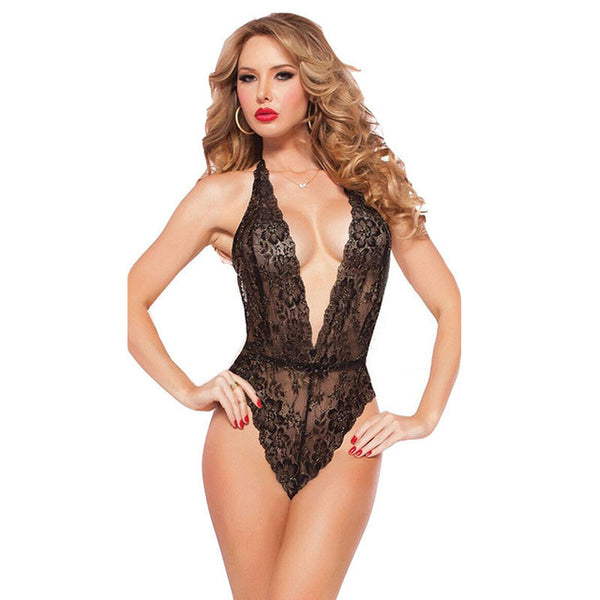 Sexy Women Lace Teddies Deep V Underwear Lingerie