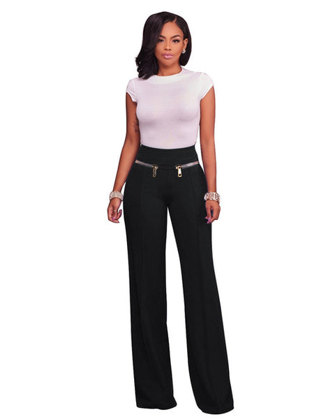 Mamir's Express - Elastic High Waist Wide Leg Pants women  palazzo Pants