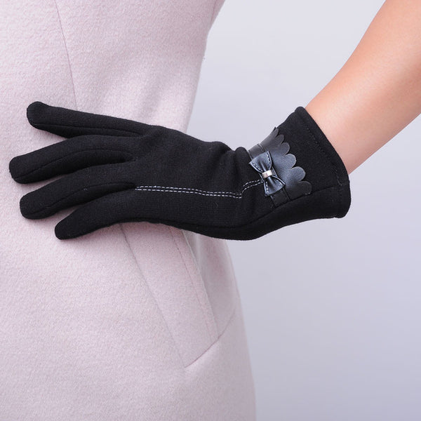 Mamir's Express - One Pair Elegant Women Touch Screen Lace Cotton Winter Warm Gloves