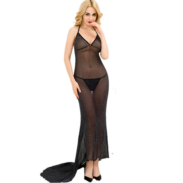 Transparent Lingerie Long Dress With G-string Midnight Romance Lingerie