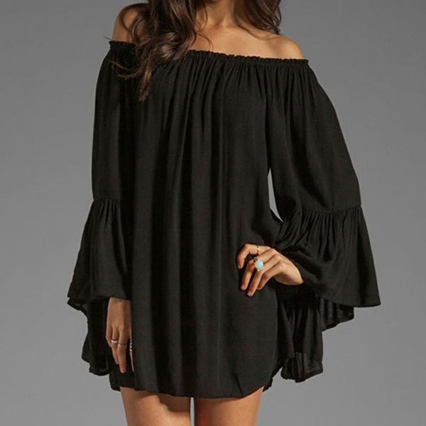 Mamir's Express - Ladies Off Shoulder Sexy Chiffon Long Sleeve Mini Short Dress