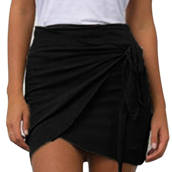 Mamir's Express - Casual Sexy Slim Bow Tied Mini skirt Chiffon Pencil Skirts