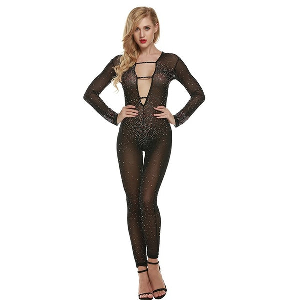 Sexy Women Lace Mesh Play-Suit Jumpsuit Romper With Diamonds