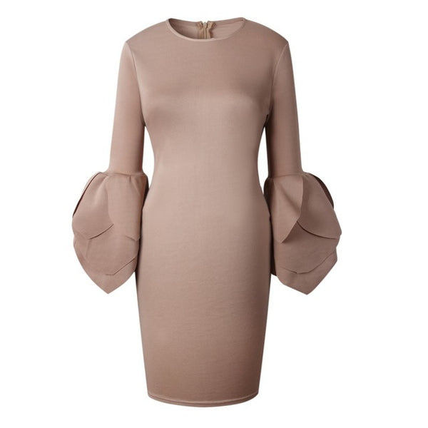 Mamir's Express - Elegant Bodycon Dress  Sexy Spring Petal Sleeve Party Dress