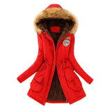 Women Parka Winter Warm Jackets  Fur Collar Coats Long Parkas Hoodies