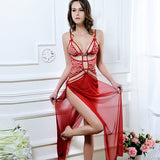 Sexy Nightwear Red Lace Hollow Long Nightgown Sheer Mesh Babydoll