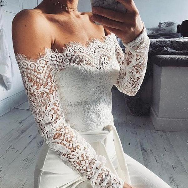 8747d074f46c ... Mamir s Express - Elegant Off The Shoulder Lace Women Long Sleeve  Fitted Sexy Jumpsuit Romper ...