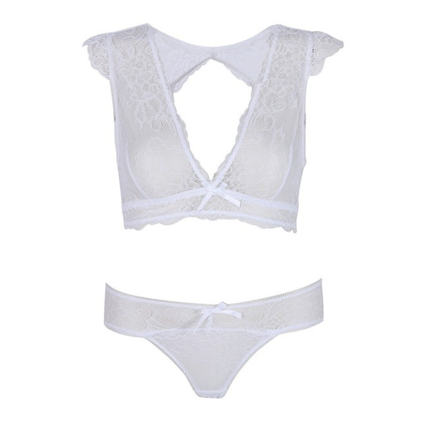d79bd656ce4 Mamir s Express - Embroidery Floral lace Sheer Lingerie Underwear Bra Set