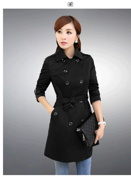 Mamir's Express - Double Breasted Md-long Trench Coat For Women