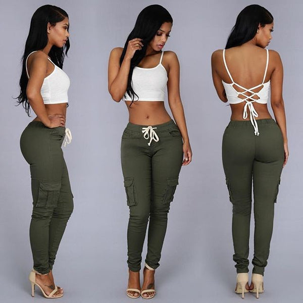 Multi Pocket Pants High Waist Solid Lacing
