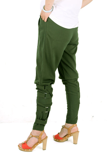 Casual Plus size women Army Green pants