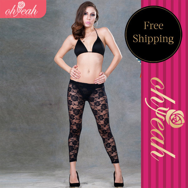 Mamir's Express - black white see through  fitness leggings transparent sexy leggings for women hollow out sexiest lace leggings