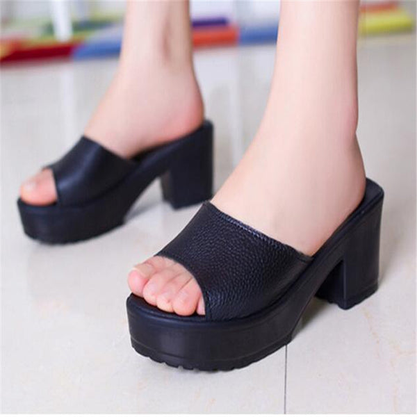 Women High Heel Slippers Leather Soft  Platform sandals Ladies Wedges Sandals woman Flip Flop
