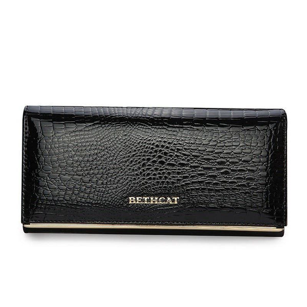 Leather Alligator Long Purse Wallet