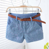 Lace  Sexy Shorts With Belt Fashion Casual Mid Waist Exquisite Female Pants