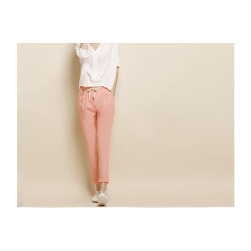 Elastic Waist Pants All-Match Loose Pantalon Candy Colored Women's Casual Pants Trousers