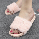 Mamir's Express - Flock  Slippers Women Faux Fur Slides Flip Flops Flat Shoes