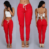 Mamir's Express - Casual Multi Pocket Pants High Waist Solid Lacing White Red Army Khaki Shiny Pencil Pants Capris Women Trousers