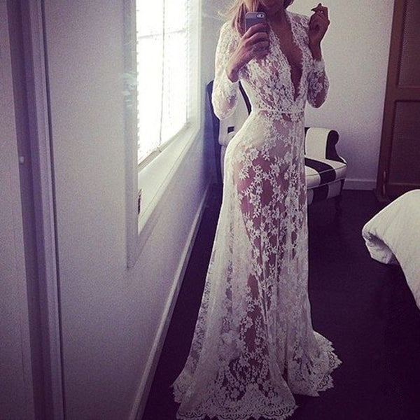 Mamir's Express - Womens Sexy Lace Embroidery Maxi Solid White Dress Long Sleeve Deep V Neck Vestidos Plus Size S-XL