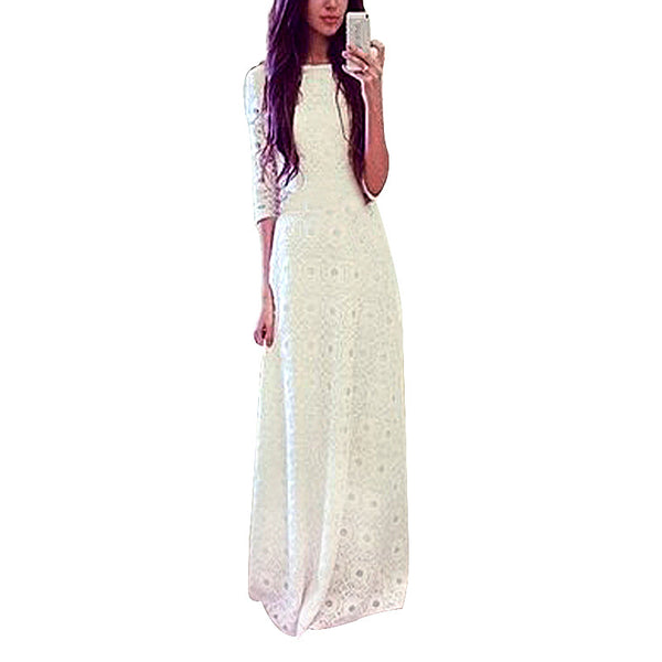 Elegant Half Sleeve White Lace Double Layer Boho Maxi Long Dress