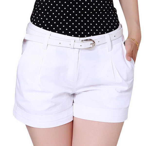 Mamir's Express - Korea Woman Cotton Shorts Casual  Solid Color Khaki / White