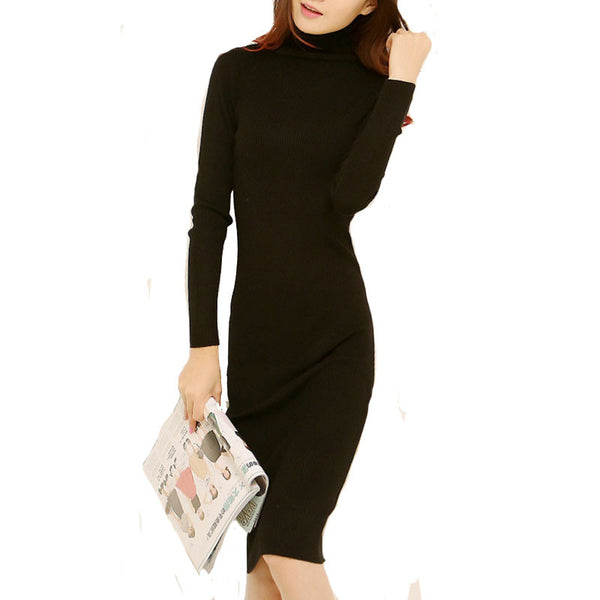 3e55dffd31b56 Mamir's Express - Women Autumn Winter Sweater Dresses Slim Turtleneck Sexy Bodycon  Solid Color Robe Long
