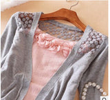 Mamir's Express - Long Sleeve Lace Hollow Out Knitted Cardigan Sweater