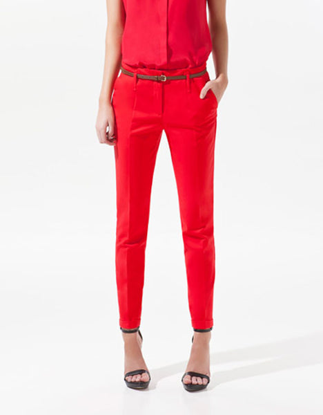 Mamir's Express - Pencil Casual  Women Pants With Belt