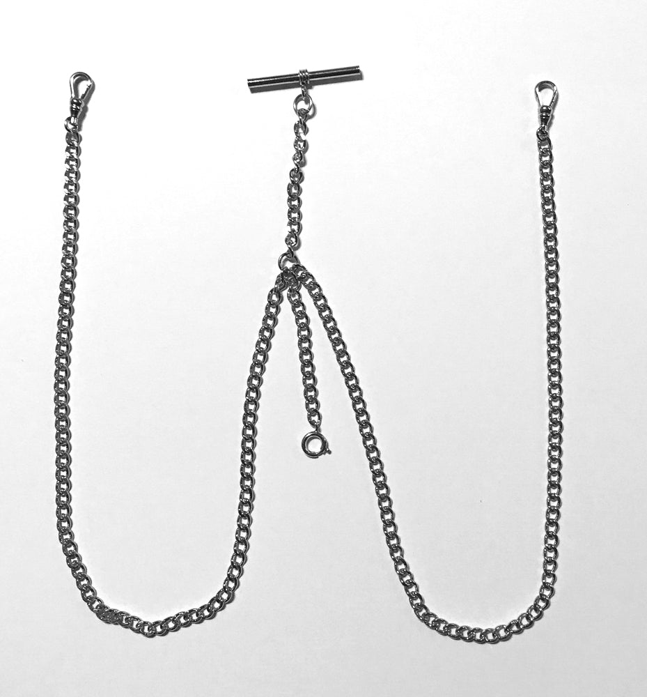 Silver Double Albert Pocket Watch Chain with T bar and Watch Swivel