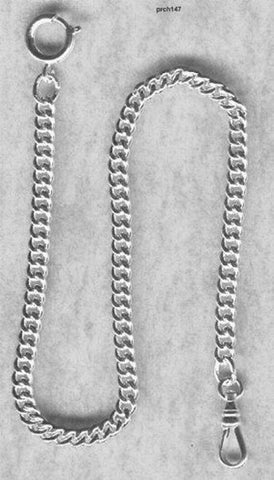 "Quality 12"" Sterling Silver Pocket Watch Chain--Made in USA"